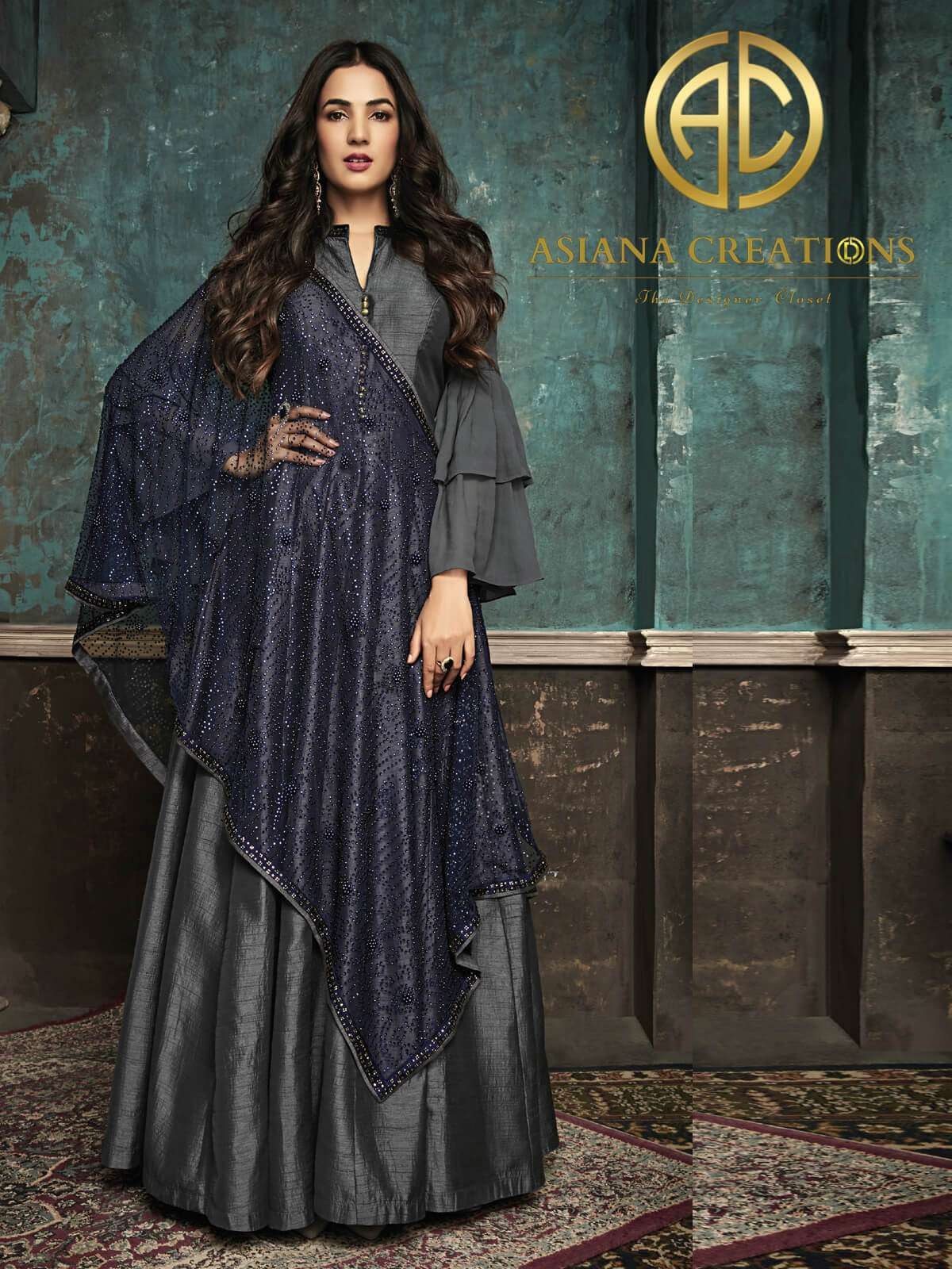 Sonal Chauhan Art Silk Designer Floor Length Grey Anarkali Suit
