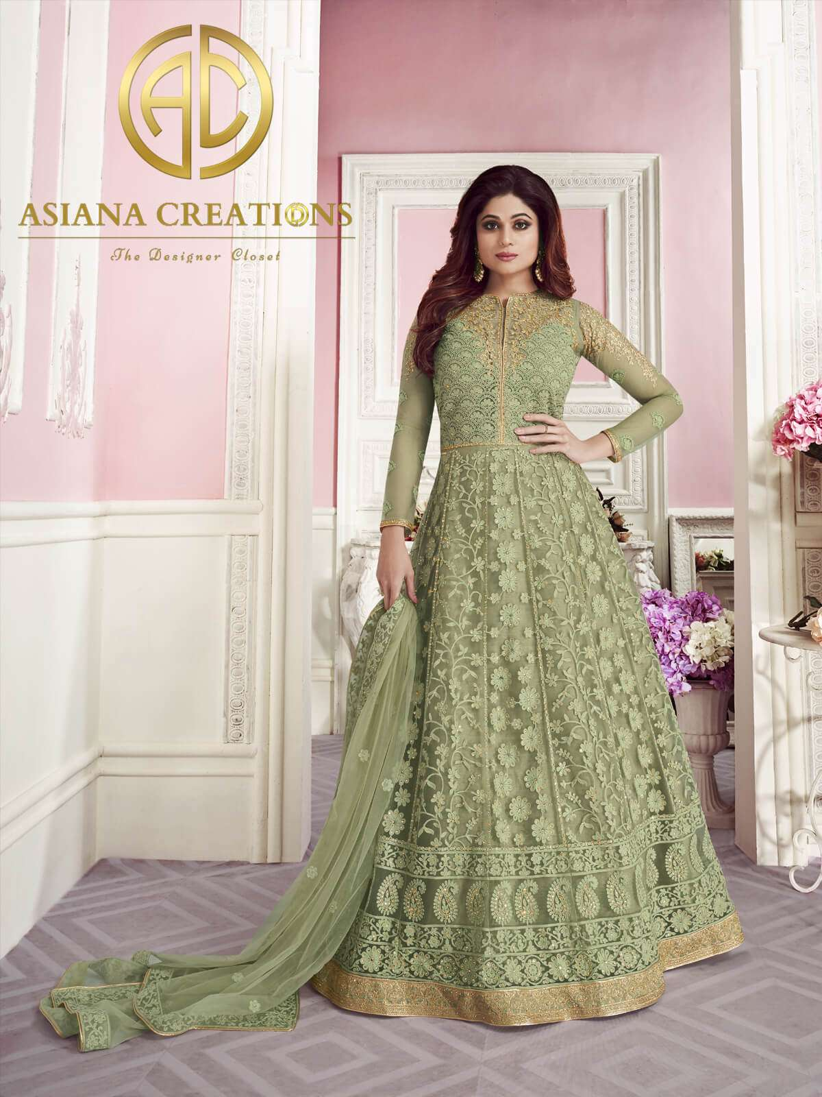 Shamita Shetty in Georgette Butterfly Net Olive Green Floor Length Anarkali Suit